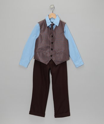 Light Blue & Brown Vest Set - Toddler & Boys