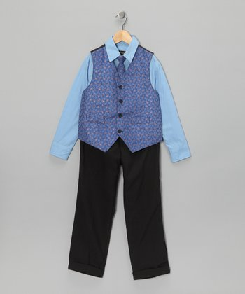 Blue & Paisley Vest Set - Toddler & Boys