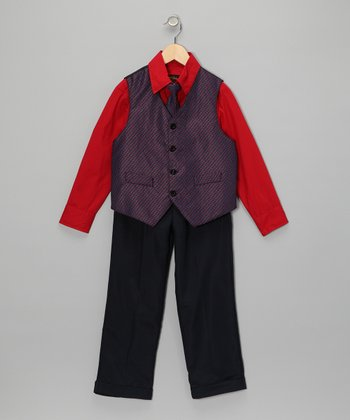 Red & Navy Vest Set - Toddler & Boys