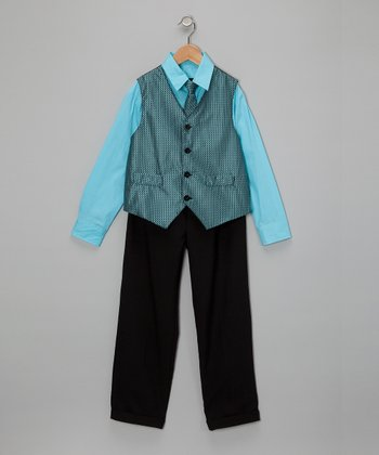 Turquoise & Blue Vest Set - Toddler & Boys