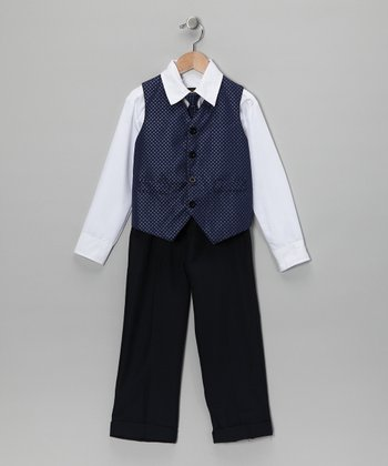 White & Navy Vest Set - Toddler & Boys