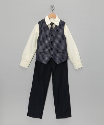 Pale Yellow & Gray Vest Set - Toddler & Boys