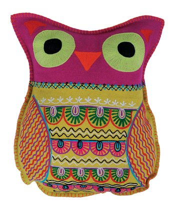 Pink Owl Felt Pillow