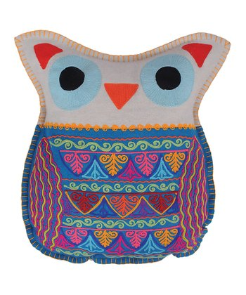 Blue Owl Felt Pillow