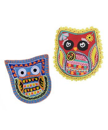 Red & Blue Owl's Best Friends Coin Pouch Set