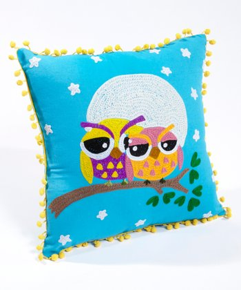 Turquoise Owl Love Pillow