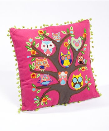 Fuchsia Owl Tree Pillow