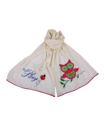 Karma Living Ivory Owl Embroidered Scarf - Kids