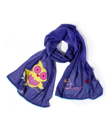 Karma Living Navy Blue Owl Embroidered Scarf - Adult