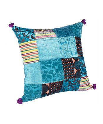 Turquoise Patchwork Burnout Pillow