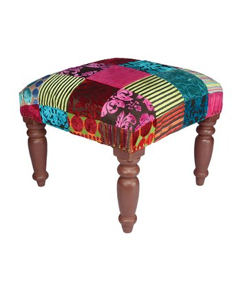 Brown Patchwork Burnout Stool