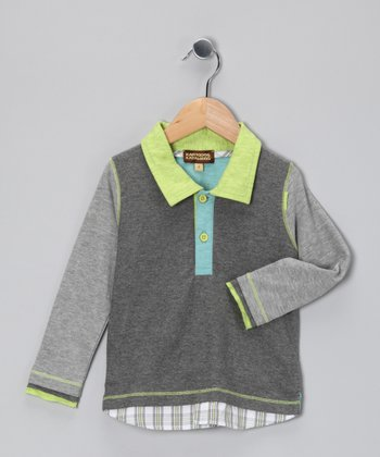 Gray Layered Polo - Boys