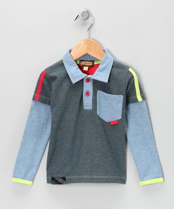 Gray & Teal Jersey Layered Polo - Toddler & Boys