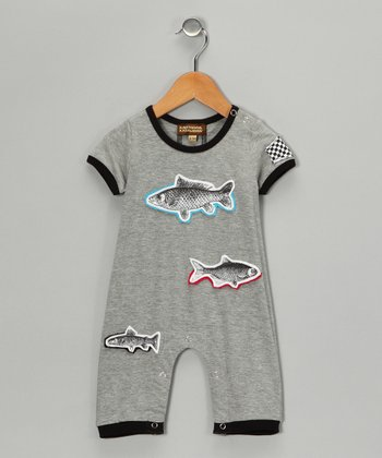 Heather Gray Fish Romper - Infant