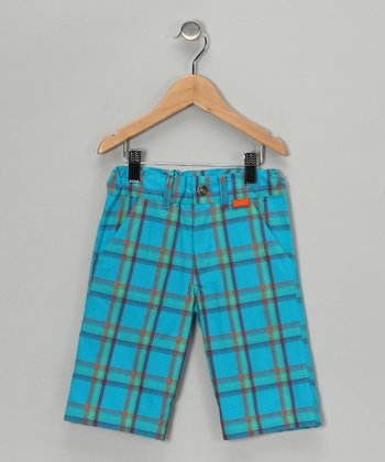 Turquoise Plaid Shorts - Infant, Toddler & Boys