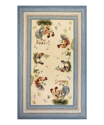 Ivory & Blue Rooster Pen Indoor/Outdoor Rug