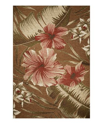 Mocha Hibiscus Indoor/Outdoor Rug
