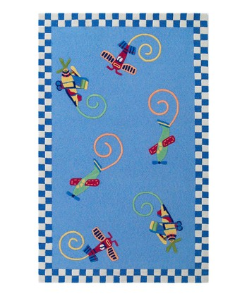 Blue Flying Fun Wool Rug