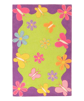Lime Green & Purple Springtime Kidding Around Wool Rug