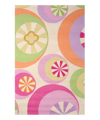 Pink & Green Peppermint Wool Rug