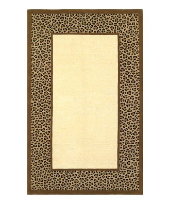 Ivory & Coffee Leopard Border Sahara Wool Rug