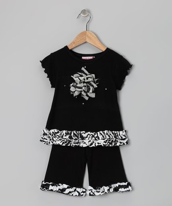 Black & White Zebra Tee & Pants - Toddler