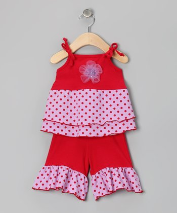 Red & Mauve Polka Dot Tank & Ruffle Pants - Infant & Toddler