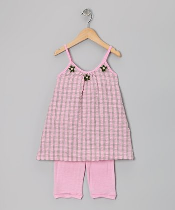 Pink & Green Plaid Tunic & Shorts - Toddler & Girls