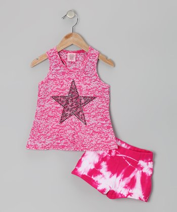 Fuchsia Star Tank & Shorts - Toddler & Girls