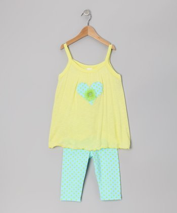 Yellow Heart Tank & Leggings - Toddler & Girls