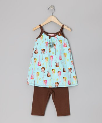 Brown Electric Guitar Tunic & Leggings - Toddler & Girls