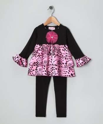 Black & Pink Ruffle Tunic & Leggings - Infant, Toddler & Girls