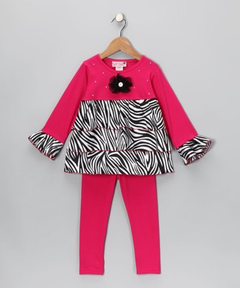 Fuchsia Zebra Ruffle Tunic & Leggings - Toddler & Girls