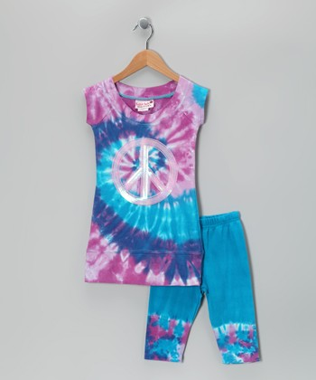 Orchid & Turquoise Tunic & Capri Leggings - Toddler & Girls