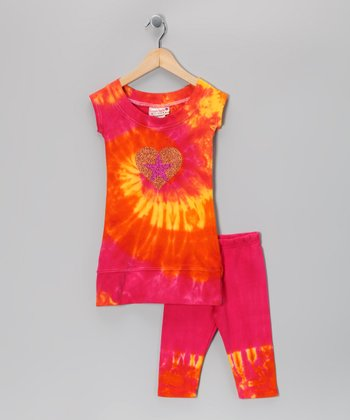Raspberry & Tangerine Tunic & Capri Leggings - Toddler