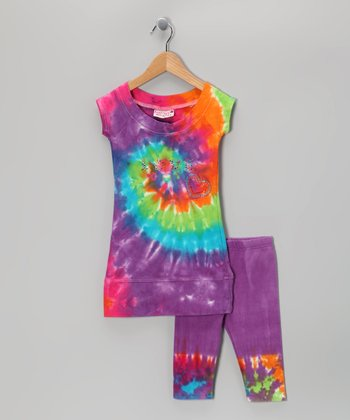 Rainbow 'Love' Tie-Dye Tunic & Capri Leggings - Toddler & Girls