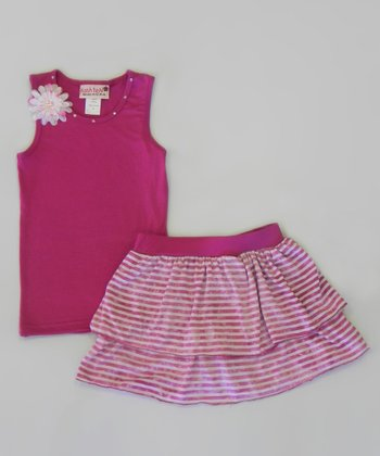 Berry Tank & Stripe Skirt - Toddler & Girls