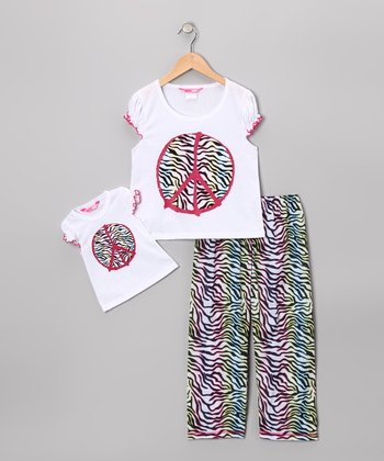 White Zebra Peace Pajama Set & Doll Outfit