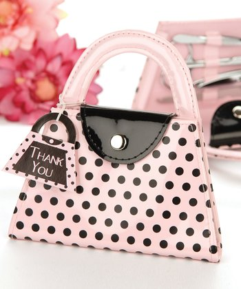 Pink Polka Dot Purse Manicure Kit - Set of 12