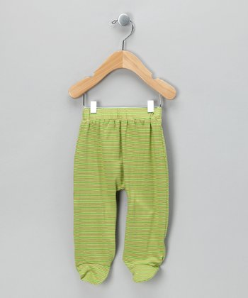 Green Stripe Organic Footie Pants - Infant