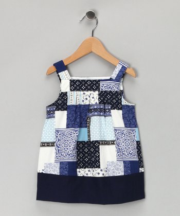 Blue Patchwork Dress - Toddler & Girls