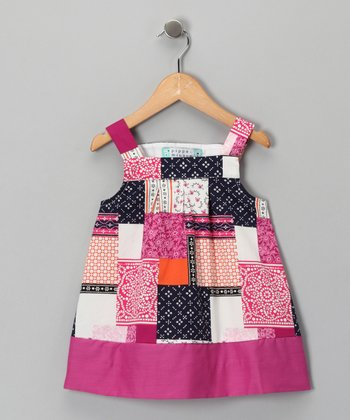 Pink Patchwork Dress - Girls