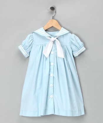Light Blue Nautical Dress - Toddler