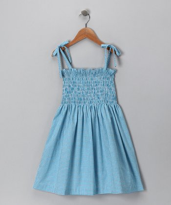 Aqua Gingham Shirred Dress - Toddler & Girls