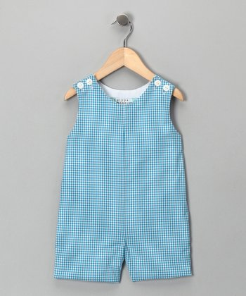 Aqua Gingham Shortalls - Infant & Toddler
