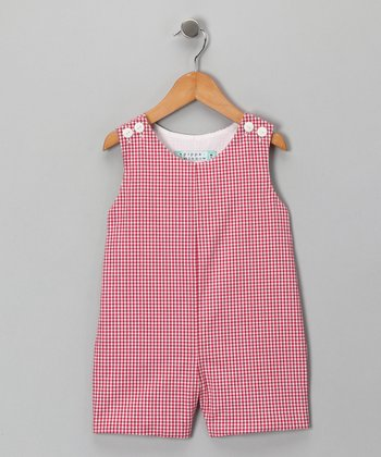 Red Gingham Shortalls - Infant & Toddler