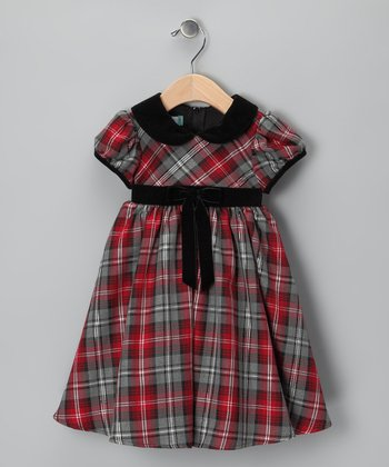 Red Plaid Cap-Sleeve Dress - Infant