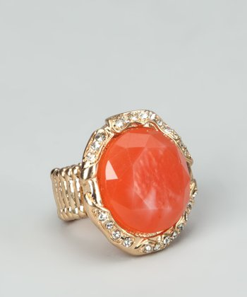 Coral & Gold Round Stretch Ring