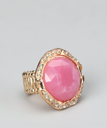 Pink & Gold Round Stretch Ring