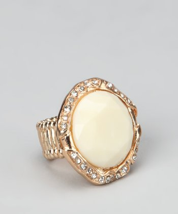 White & Gold Round Stretch Ring